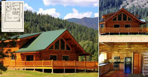 Amazing Log Home Wrap Around Deck Only $64,000 MUST SEE Interior ...